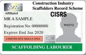 CISRS Scaffolding Labourer Card