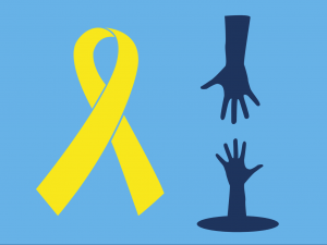 World Suicide Prevention Day Ribbon with a hand reaching out to another down a hole